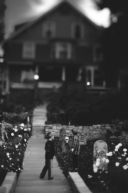 mysterious black and white Halloween photography