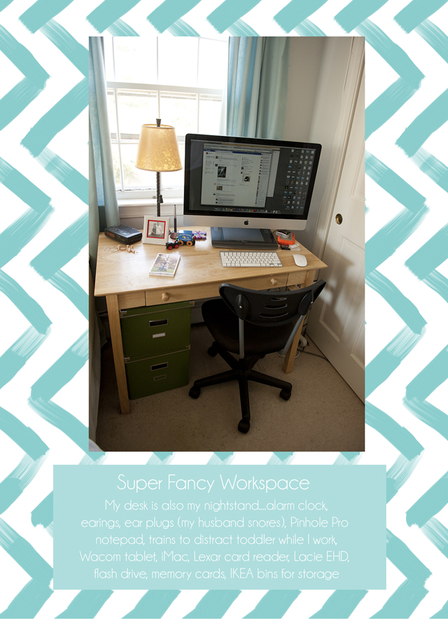 simple desk space of photographer Sarah Phillips