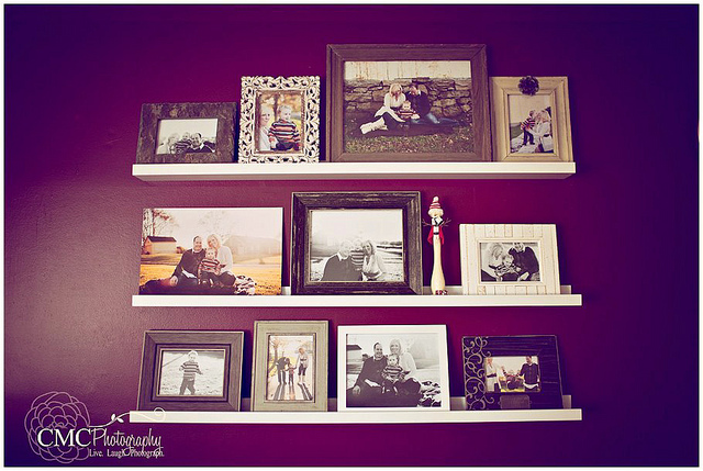 simple and clean photo wall ledge display
