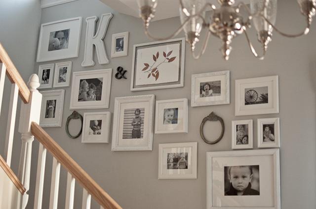 Photo Wall Display Along Staircase