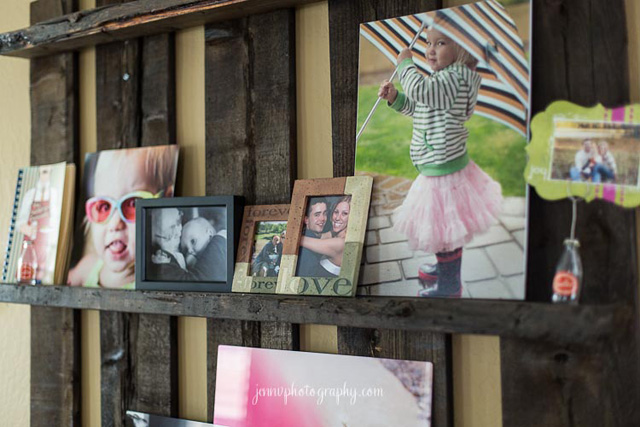 unique wall ledges to display photos