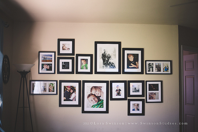 symmetrical photography wall display
