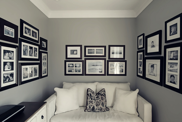 black and white photography wall displays