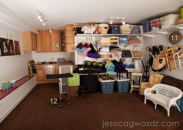 photographer's prop storage area by Jessica Gwozdz