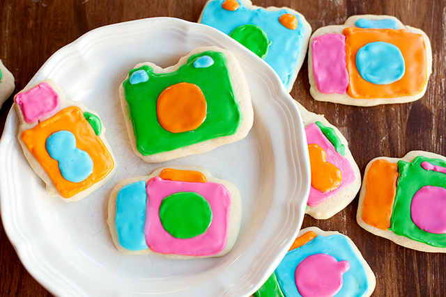 colorful camera cookie sugar cookies by Jodi Arego