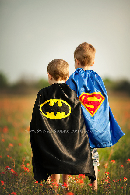 Superman and Batman superhero Halloween Costumes and dress up by Lora Swinson LoraLee