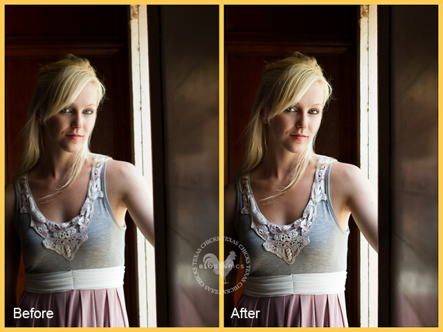 before and after editing photos in Photshop Elements by Erin Peloquin of Texas Chicks Blog and Pics