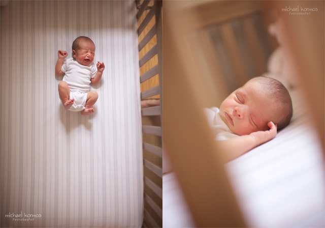 lifestyle newborn and crib photograph by Michael Kormos