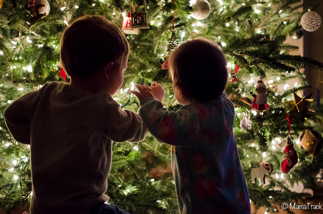 siblings decorating the christmas tree