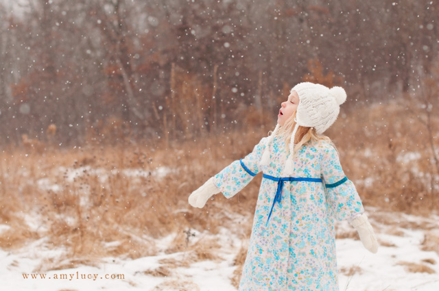 portraits with large snowflakes by Amy Lucy Lockheart