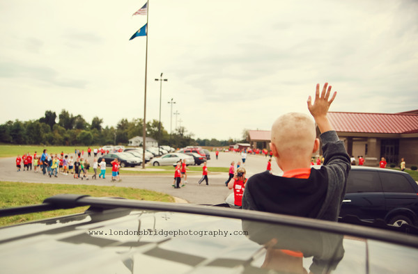 Thankful to teach at a school where a precious 4th grade student with cancer can be honored and celebrated! He was able to show up and view the 3k walk in his honor...from his Mom's sunroof! It was an awesome experience to see the children waving at him as if he were a celebrity...and to see him smiling from ear to ear at all of the red shirts that had his name on them!