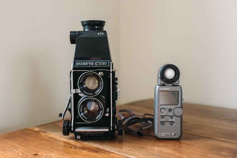 Mamiya C330 and Sekonic light meter