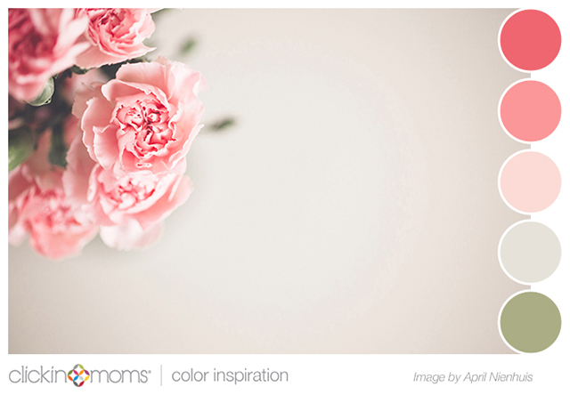 pink and green color inspiration by Clickin Moms from April Nienhuis flower photograph