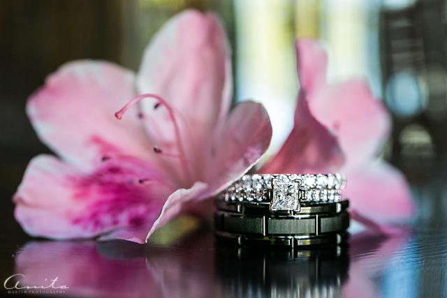 wedding ring and flower detail photograph by Anita Martin