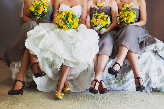 bride and bridesmaids detail photograph by Anita Martin