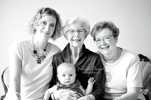four generations family photograph from a personal photography project by Beth Wade