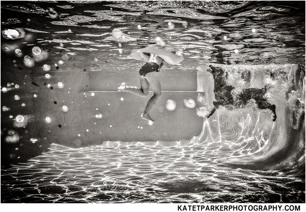 black and white underwater photograph by Kate T Parker