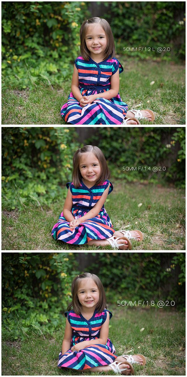 Canon 50mm lens comparison at same aperture