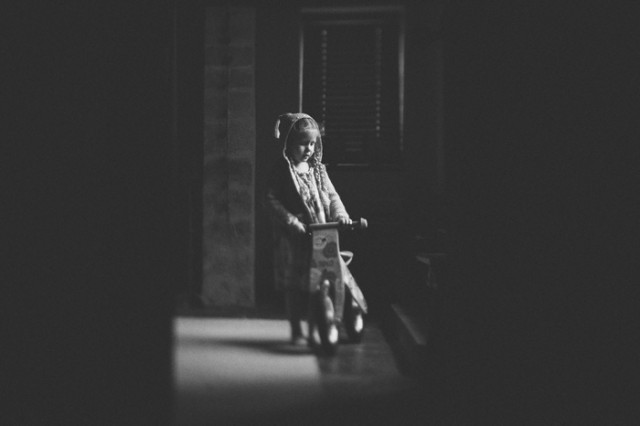 black and white child photography with noise by Emma Wood