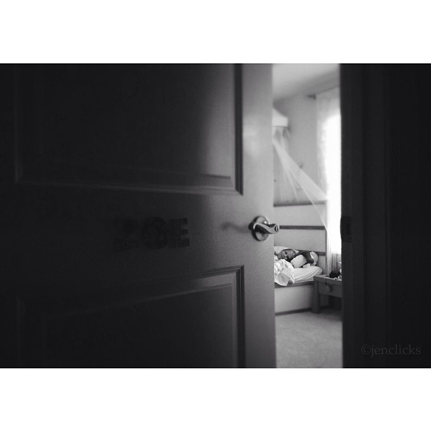 black and white child sleeping instagram picture by jenclicks