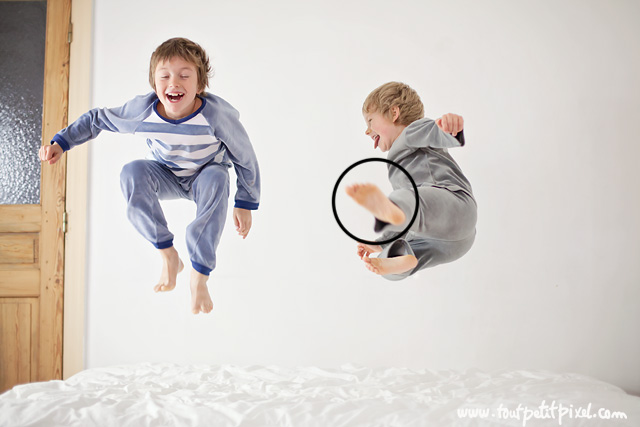 how to take photos of kids jumping on the bed by Lisa Tichane