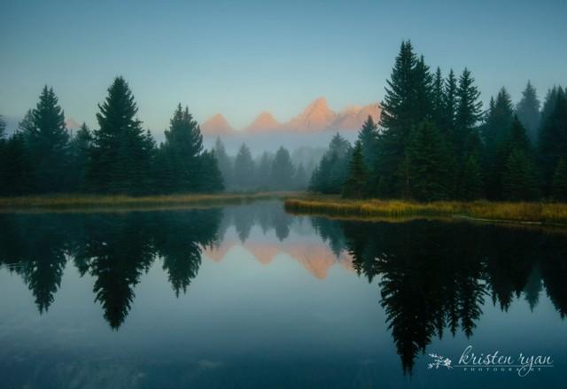 mystical sunrise mountain landscape by Kristen Ryan