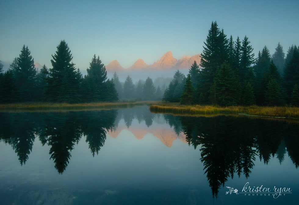 mystical sunrise mountain landscape by Kristen Ryan