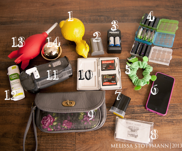 miscellaneous camera bag items