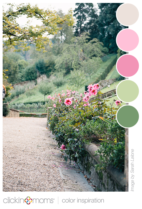 pink and green floral color palette inspiration from Sarah Lalone
