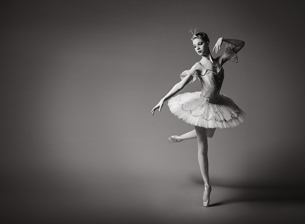 black and white ballerina photo by Kate Luber