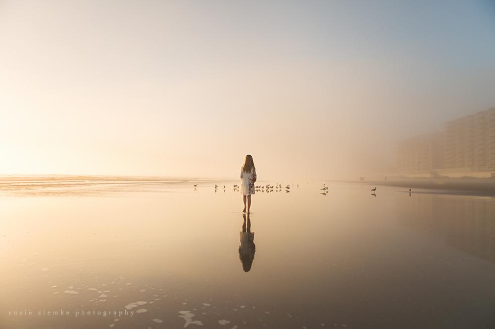 fog beach child photograph by Suzie Ziemke