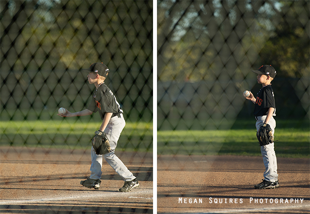 how to photograph through a fence in baseball by Megan Squires