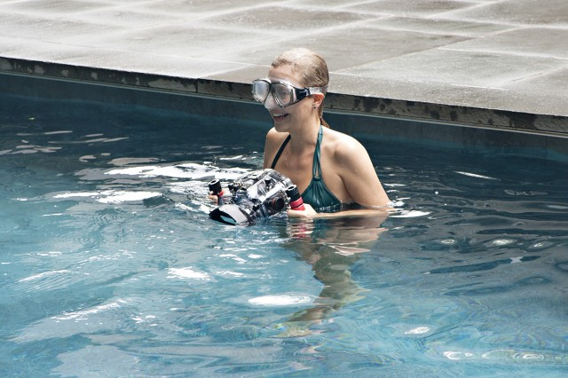 Alix Martinez and her underwater photography gear