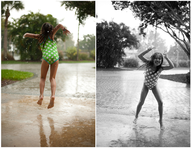 child jumping in rain and puddle by Roxanne Bryant Photography
