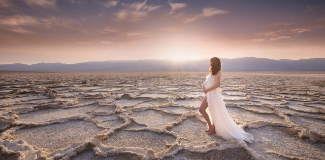 maternity portrait in Death Valley by Michael Kormos