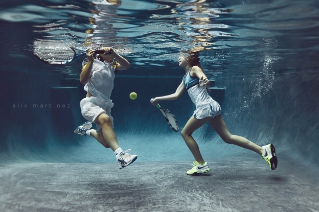 playing tennis under water pic by Alix Martinez