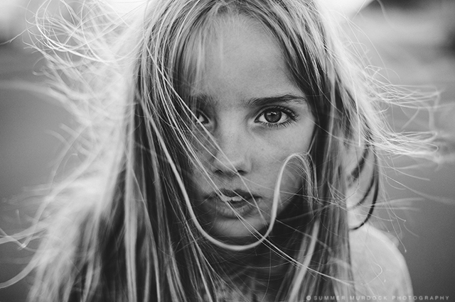 black and white portrait of girl by Summer Murdock