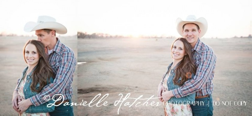 creatively photographing couple in field by Danielle Hatcher
