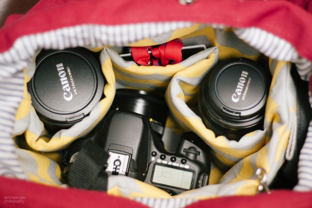 packed camera bag with custom insert by sarah lalone of punch photographic