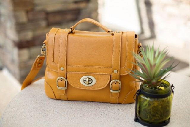 yellow leather ketti bag from the Clickin Moms store