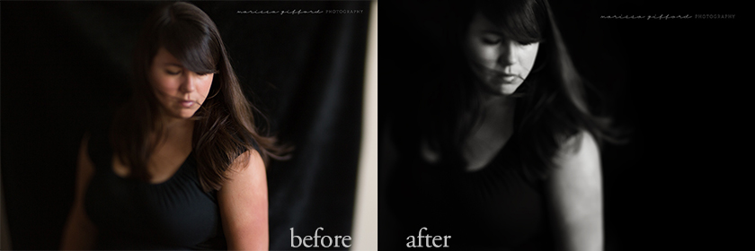 before and after edit by Marissa Gifford