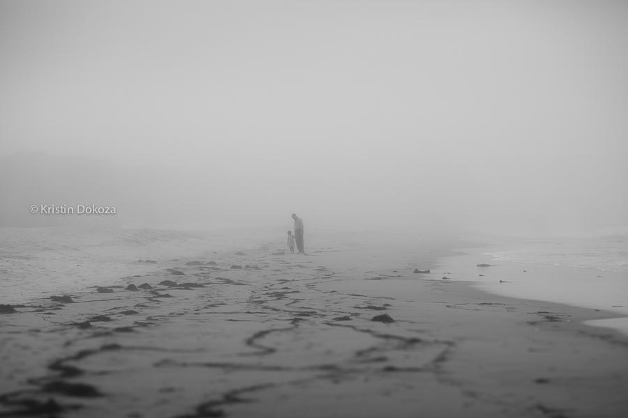 black and white beach photo by Kristin Dokoza