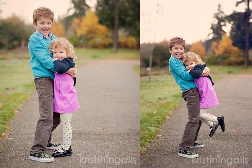 brother and sister hugging on sidewalk pic by Kristin Ingalls