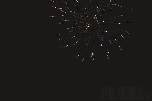 extra slow shutter speed fireworks photo by April Nienhuis