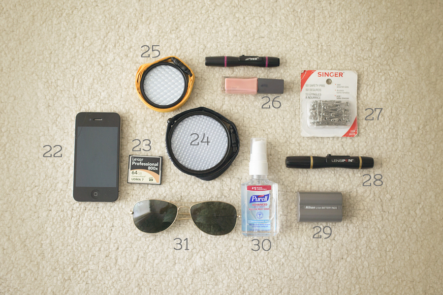 miscellaneous items in Jenni Jones camera bag