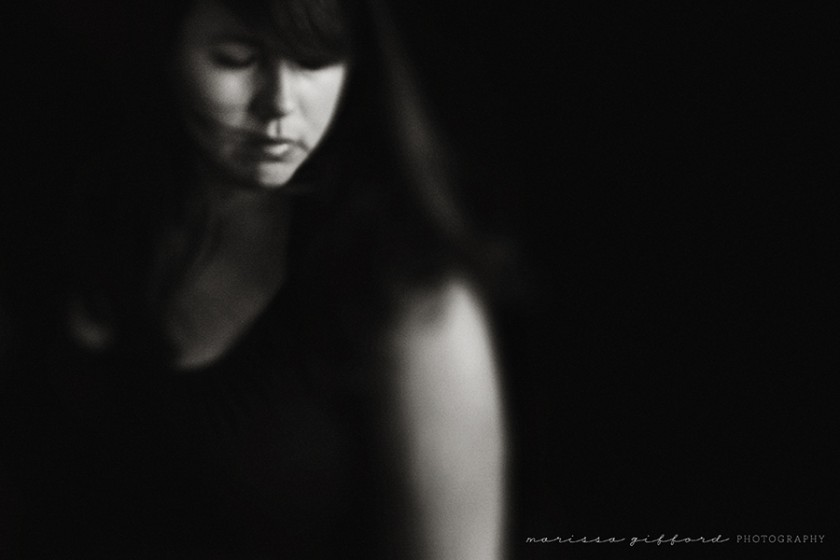 moody black and white self portrait by Marissa Gifford