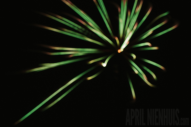 out of focus firework picture by April Nienhuis