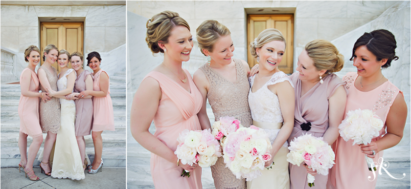 bridal party wearing pink and neutrals photo by Sarah Kossuch