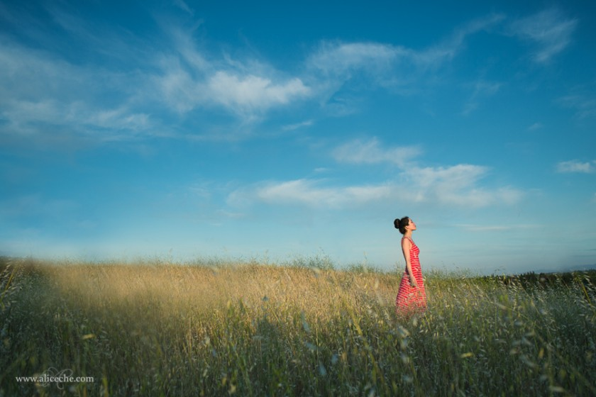 woman in red dress standing in a field photo by alice che
