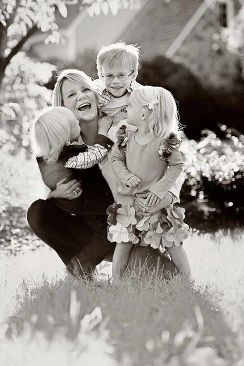black and white family photo by Tamara Lackey